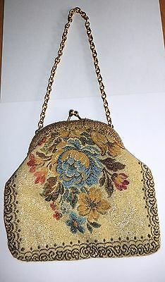 Lovely Vintage Women's Handbag Floral Embroidered With Chain Italy