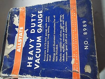 Vintage Allstate No. 8989 Heavy Duty Vacuum Gauge -Made In Usa