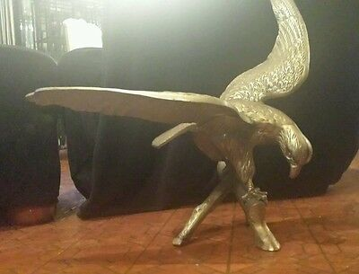 Wide Wing Span Brass Eagle on Perch
