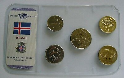 Iceland coin set - Various years, BU Condition, Fishes - Crab - Dolphin