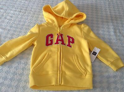 girls genuine gap logo zipper hoodie jacket yellow hot pink silver logo 3 years