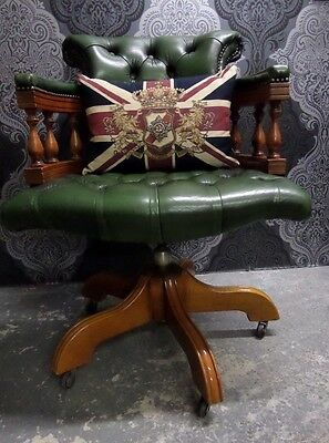 Chesterfield Antique Green Captains Swivel Office Chair Leather UK Delivery