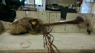 Vintage native American dance stick deer hoof  antler coyote head