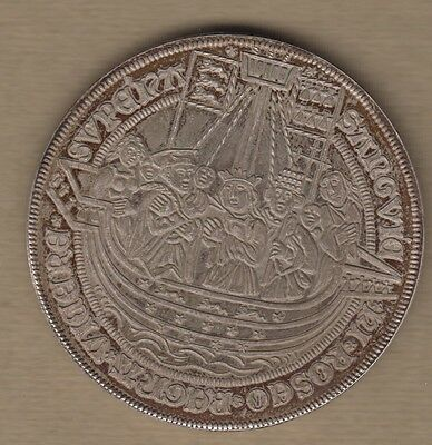 45mm SPECTACULAR SILVER 835 MEDIEVAL STYLE GERMAN MEDAL? 3 virgins white ship?