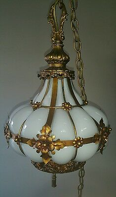 Vtg Italian Murano Gold Metal Tole Cage White Glass Chandelier Hanging Lamp