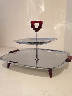 Glo -hill Mid Century Modern Chrome  Serving  Tray
