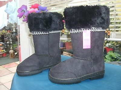 Girls Black Faux Leather Fur Lined Boots Size 12 New