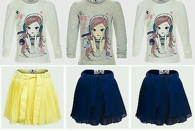 Girls Top Long Sleeves Doll Motif & Chiffon Skirt Outfit. Age 3 4 5 6 7 8 Years