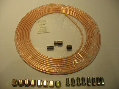 Saville Copper Brake Pipe Seamless 25Ft Of 3/16 Od + 10 Female Nuts +10 Male Nut