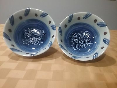 2 Japanese Or Chinese Asian Signed Bowl Dish W/  Fish,blue/white