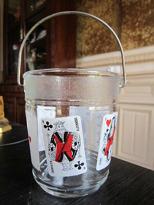 SEAU A GLACON VERRE VINTAGE CARTE A JOUER poker , bridge ,......