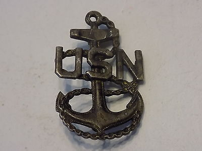 WWI WWII USN Navy CPO Chief Petty Officer Pinback STERLING Pin Badge Insignia