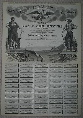Comet Mining Company of Utah 1883 share certificate for 500 Francs with coupons