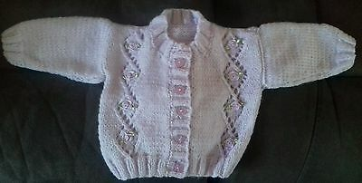 **NEW** Baby Girls Hand Knitted Cardigan age 0-3 months