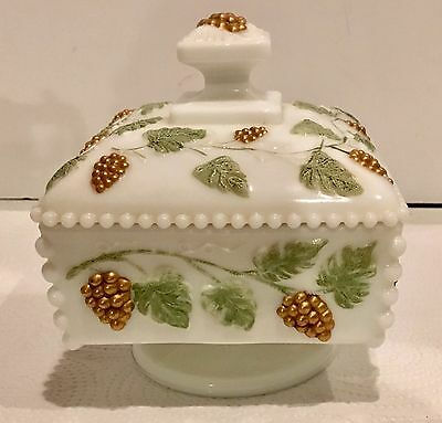 Westmoreland White Milk Glass Handpainted Paneled Grape Beaded Candy Dish w/Lid