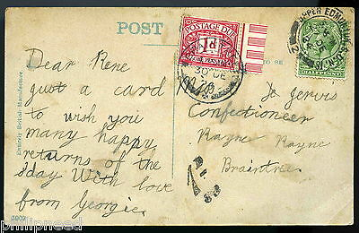 1924 Postage Due Postcard To A Confectioner In Rayne Braintree Essex