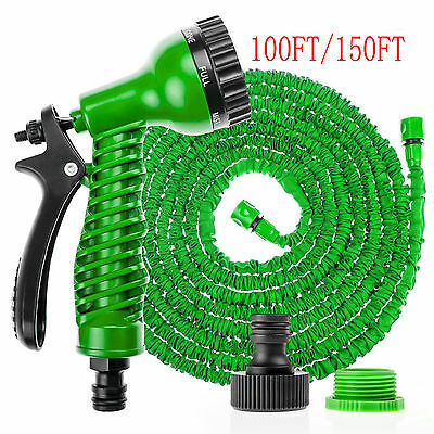 50ft 100ft 200ft EXPANDABLE FLEXIBLE GARDEN HOSE PIPE 3x EXPANDING & SPRAY GUN
