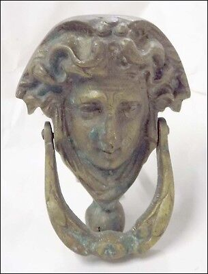 Antique BRASS DOOR KNOCKER Victorian Woman Face MOUNTING SCREW