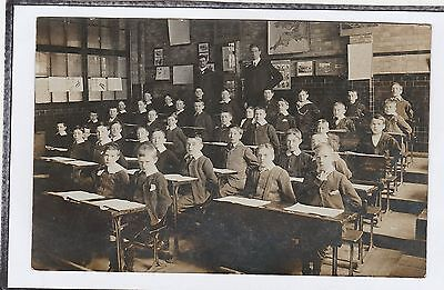 Early Social History Postcard Children At School All Boys