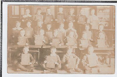Early Social History Postcard Children At School Art Lesson?