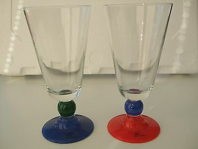 Two (2) Vintage Le Gocce Stemmed Drinking Glasses Bright colours STUNNING (1)