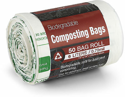Kitchen Maestro Biodegradable Food Waste Compost Bag and Liner, Roll of 50 Bags