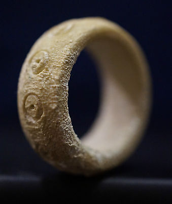 Ancient Viking carved B0NE Ring with decoration, ca 1150 AD. Rare Norse Relic VF