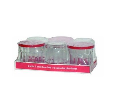 Brand New France Jam Jar With Lid 500ml Set of 6 Pieces