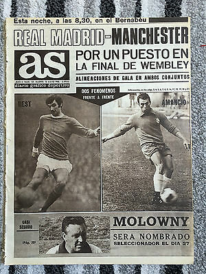 1968 EUROPEAN CUP Semi Final Real Madrid v Manchester United *MADRID ''AS'' EDTN