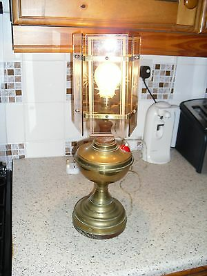 Brass Oil Lamp Converted To Electric With Pentagon Glass Shade