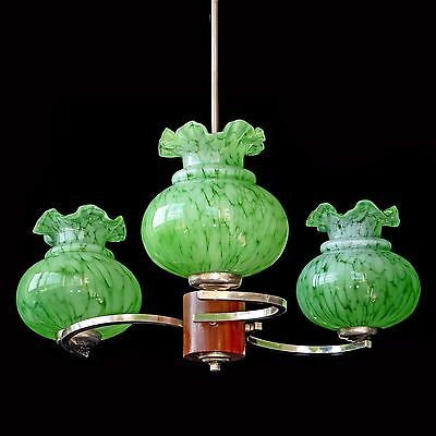 Antique French Art-Deco/Nouveau Murano Green Art Glass Shades/3 Light Chandelier
