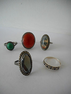 5 X Antique /vintage  Silver Rings