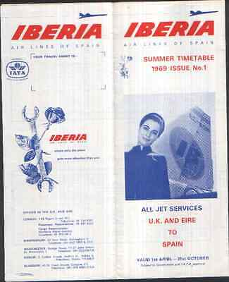 IBERIA SUMMER TIMETABLE APRIL - OCTOBER 1969  UK & EIRE TO SPAIN  ISSUE No 1