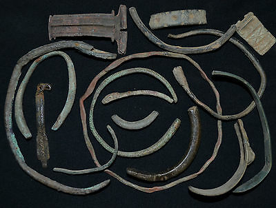 Collection of over 15+ Ancient Viking Bracelet Bangle Fragments, circa 1150 AD.