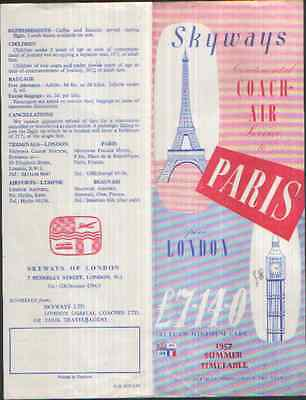 Skyways Of London Coach-Air Service Summer 1957 Timetable To Paris