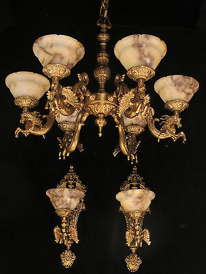 sexy ceiling  chandelier and wall ligths bronze  alabaster  HORSES SCULPTURES