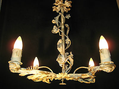 Chandelier  Iron Antique French Provincial From 1920S