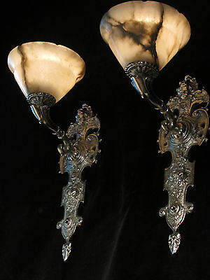 wall lights pair silver plate SOLID BRONZE & REAL ALABASTER INDUSTRIAL LIGHTS