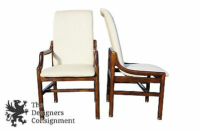 6 Henredon Distressed Walnut Mid-Century Modern Danish Style Dining Chairs Seat