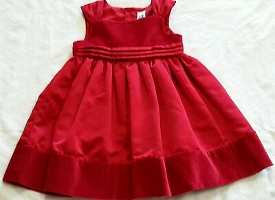 Carters red velvet/satin holiday dress baby girl size 24  months EUC