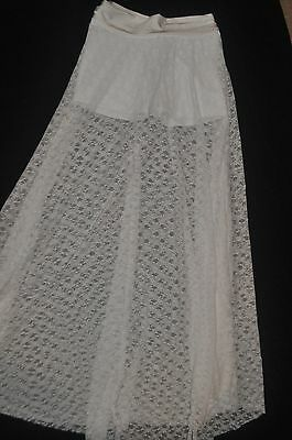 Leapin'Leotard Adult small or large  White Lacy long dance skirt with shorts