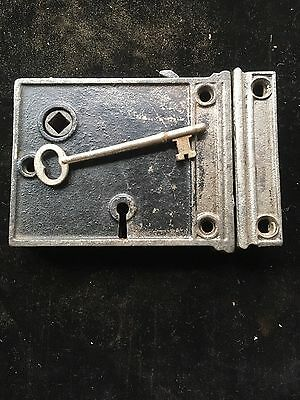 Antique Vintage Iron RIM Knob LOCK w/ Working Key & KEEPER All WORKS GREAT