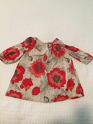 Baby Gap Girls 3-6 Months Red Floral Christmas Dress EUC