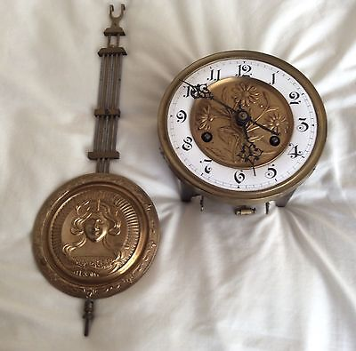 Antique Complete Wall Clock Movement And Pendulum, Makers Philipp Hass & Sohne