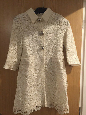 Dolce & Gabbana Girls Cream Beige Macramé Lace Coat 10 Years £875