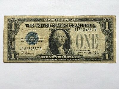 Old Vintage 1928 One Dollar Bill $1 Silver Certificate Funny Back Blue Seal Note