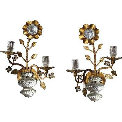 Pair French Maison Bagues Gilt Iron & Crystal Flower Two-Light Sconces c.1950