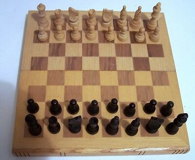 CHESS SET.  Wood.  complete set with wooden storage box.