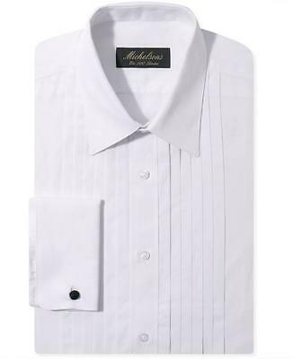 $275 MICHELSONS Men SLIM-FIT FRENCH-CUFF WHITE PLEATED DRESS SHIRT 14.5 32/33 S