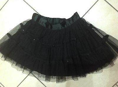 Girls Pretty Black Tutu Style Skirt (lined) With Sequins.  Age 4-5 Years
